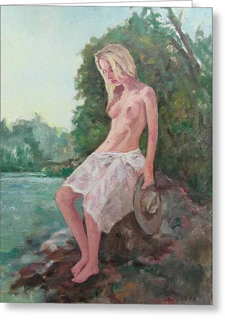 La Fille To The Pond Greeting Card by Alain Lutz