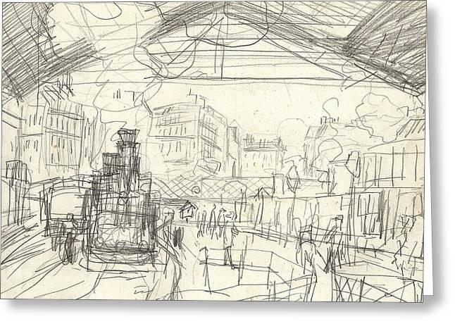 La Gare Saint Lazare Greeting Card by Claude Monet