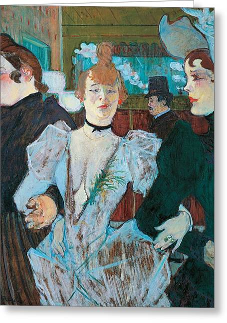 La Goulue Arriving At Moulin Rouge With Two Women Greeting Card by Henri de Toulouse Lautrec