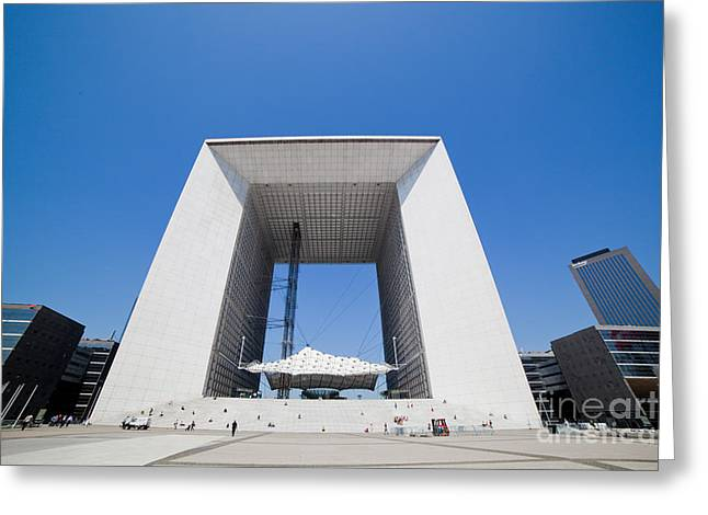 La Grande Arch In La Defense Business District Paris France Greeting Card by Michal Bednarek