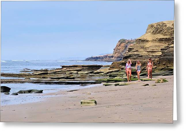 La Jolla Beach Walk Greeting Card