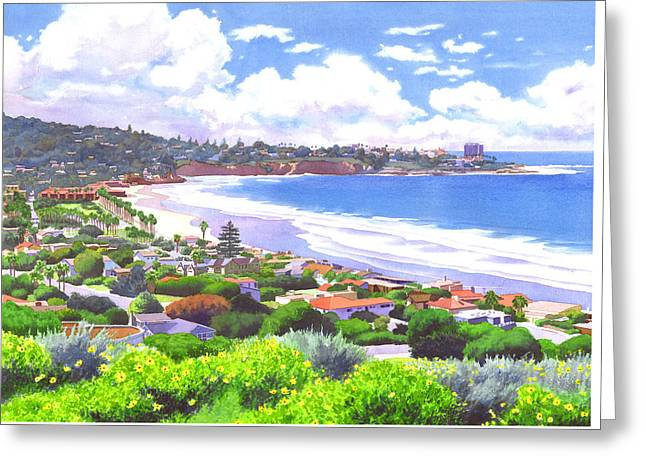 La Jolla California Greeting Card by Mary Helmreich