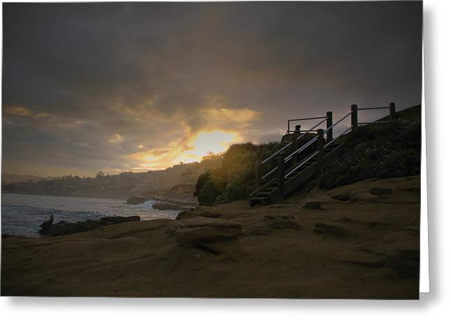 Greeting Card featuring the photograph La Jolla Cove Sunrise by Jeremy McKay