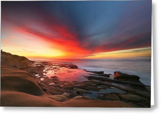 La Jolla Reef Sunset 13 Greeting Card by Larry Marshall