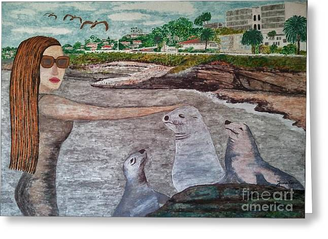 Greeting Card featuring the painting La Jolla  San Diego by Jasna Gopic
