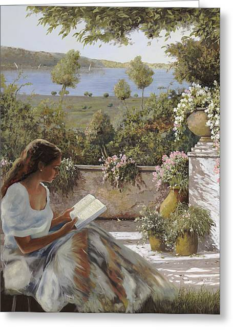 La Lettura All'ombra Greeting Card by Guido Borelli
