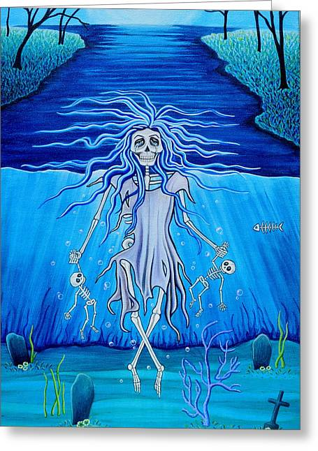 Greeting Card featuring the painting La Llorona Arrepentida by Evangelina Portillo
