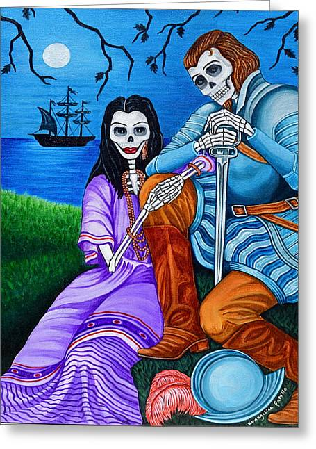 Greeting Card featuring the painting La Malinche Y Cortes by Evangelina Portillo