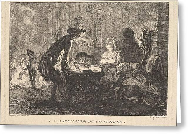 La Marchande De Chataignes The Chestnut Greeting Card by Chevalier de Parlington
