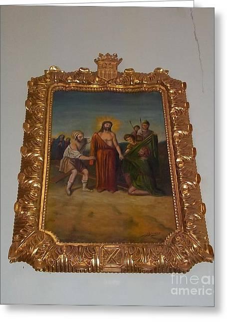 La Merced Via Crucis 10 Greeting Card by Vladimir Berrio Lemm