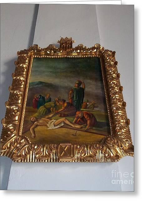 La Merced Via Crucis 11 Greeting Card by Vladimir Berrio Lemm