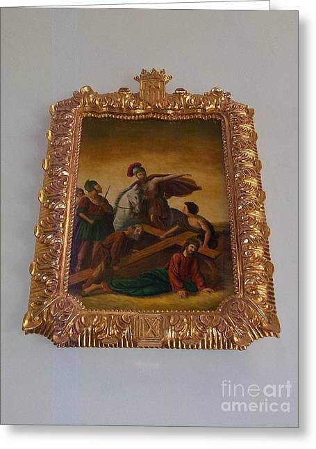 La Merced Via Crucis 9 Greeting Card by Vladimir Berrio Lemm