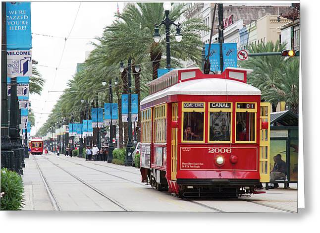 La, New Orleans, Canal Street Trolley Greeting Card by Jamie and Judy Wild