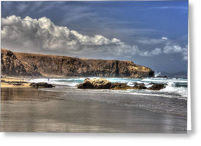 Greeting Card featuring the photograph La Pared Cliff And Rocky Beach On Fuertaventura Island by Julis Simo