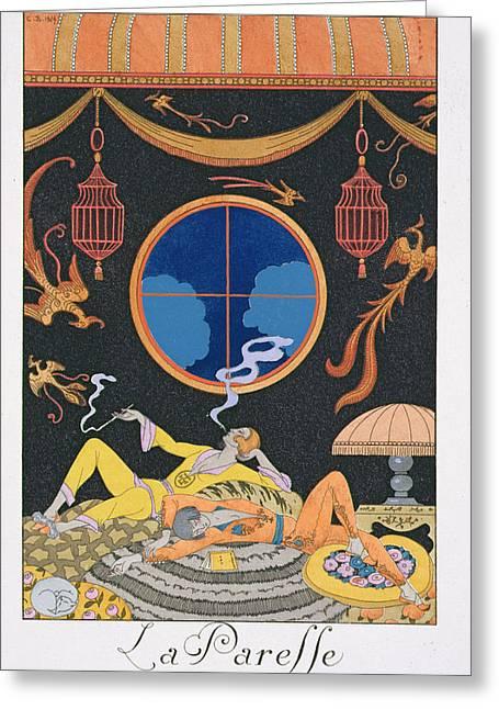 La Paresse Greeting Card by Georges Barbier