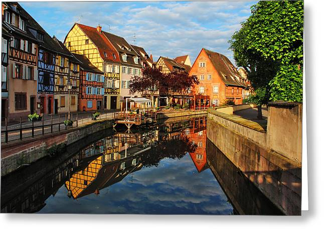 La Petite Venice Reflections In Colmar France Greeting Card by Greg Matchick