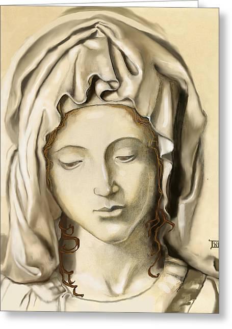 Greeting Card featuring the painting La Pieta 2 by Terry Webb Harshman