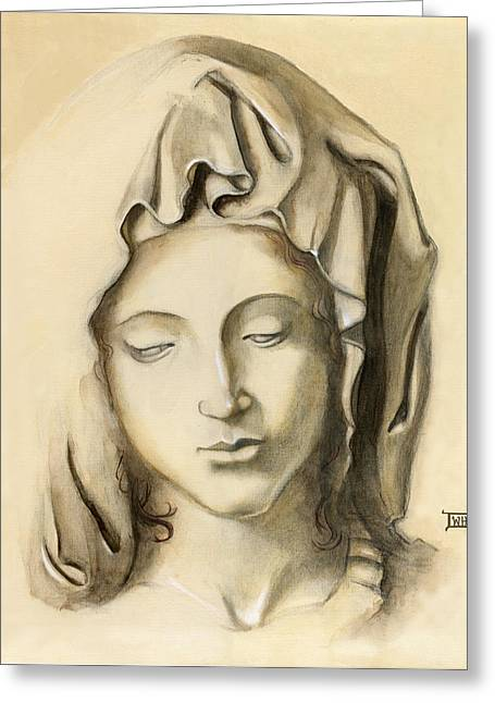 Greeting Card featuring the painting La Pieta-progression 1 by Terry Webb Harshman