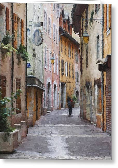 La Pietonne A Annecy - France Greeting Card