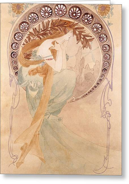 La Poesie,  Watercolour On Paper Greeting Card by Alphonse Marie Mucha