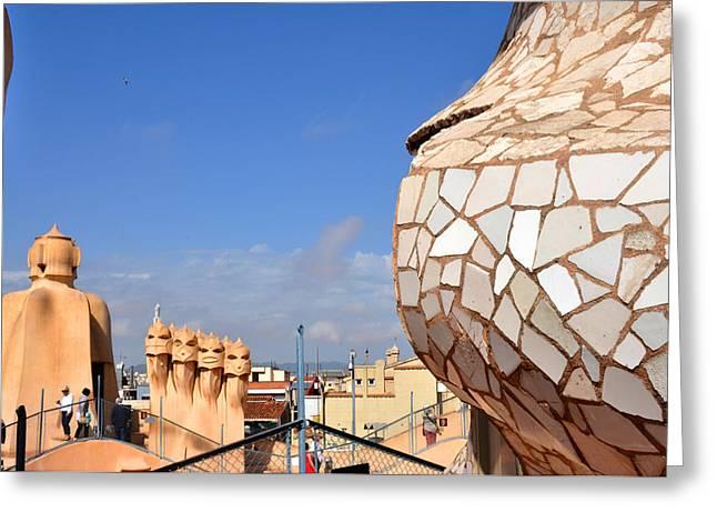 La Predrera Gaudi House Barcelona Greeting Card by Diane Lent