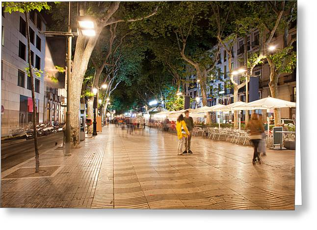 La Rambla At Night  In Barcelona Greeting Card