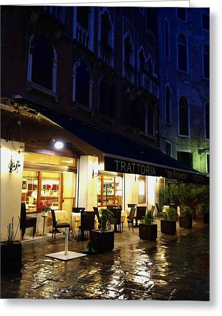 La Roberto's Trattoria On A Rainy Eve Greeting Card by Jan Moore