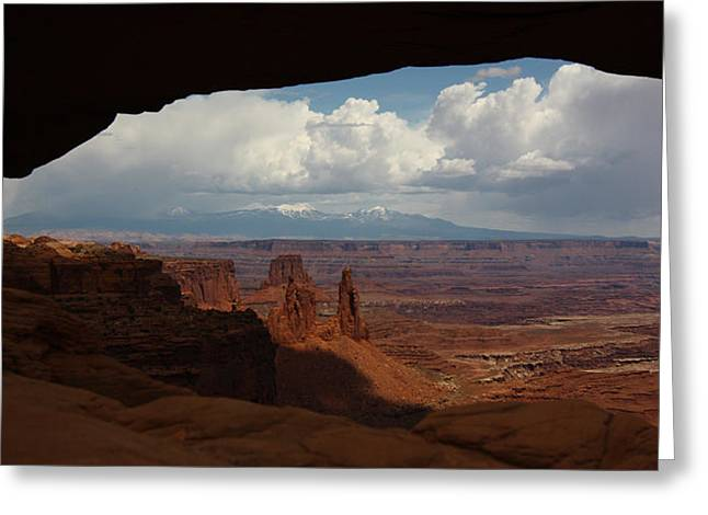 La Sal Mountains Through Mesa Arch Greeting Card
