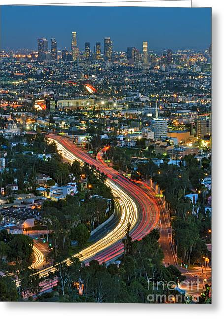 La Skyline Night Magic Hour Dusk Streaking Tail Lights Freeway Greeting Card by David Zanzinger