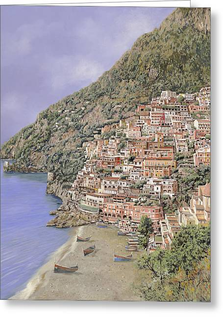 la spiaggia di Positano Greeting Card by Guido Borelli