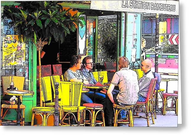 La Station Rambuteau Wine Drinkers Greeting Card by Jan Matson