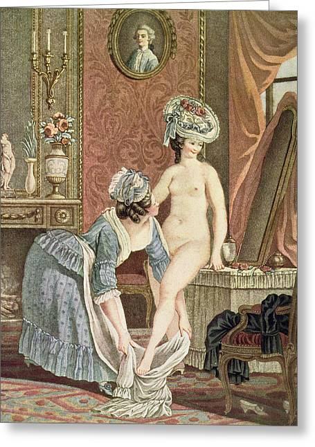 La Toilette Engraving By Louis Marin Greeting Card by Nicolas Rene Jollain