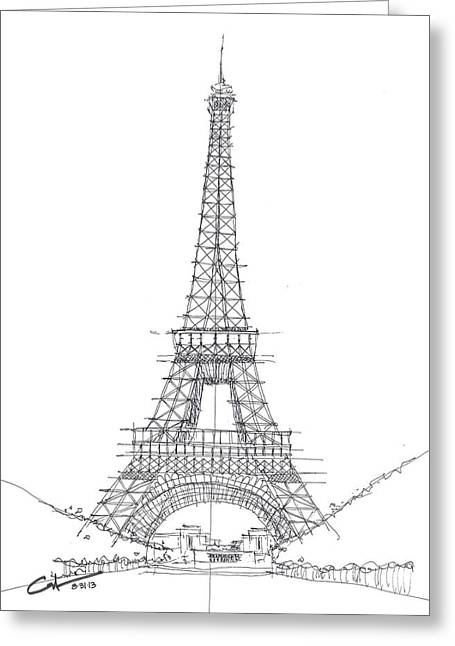 Greeting Card featuring the drawing La Tour Eiffel Sketch by Calvin Durham