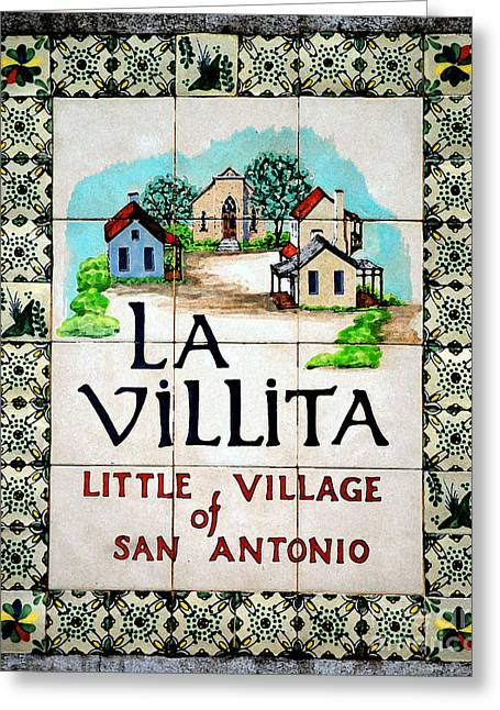 La Villita Tile Sign On The Riverwalk San Antonio Texas Watercolor Digital Art Greeting Card by Shawn O'Brien