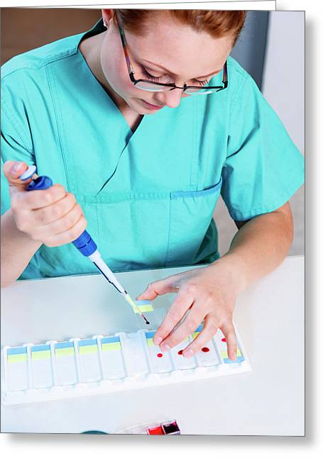 Lab Technician Using A Pipette Greeting Card