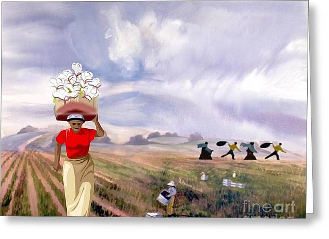 Laboring In The Fields Greeting Card