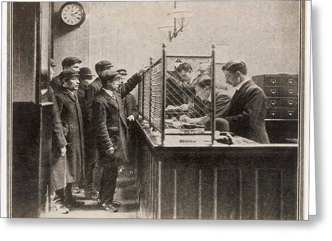 Labour Exchange At Camberwell Green Greeting Card by  Illustrated London News Ltd/Mar