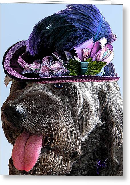 Labradoodle Trudy To The Derby Greeting Card by Michele Avanti