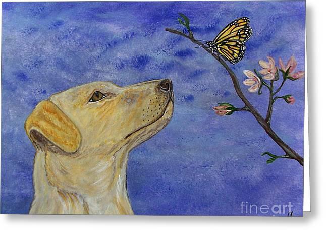Greeting Card featuring the painting Labrador Enchanted by Ella Kaye Dickey