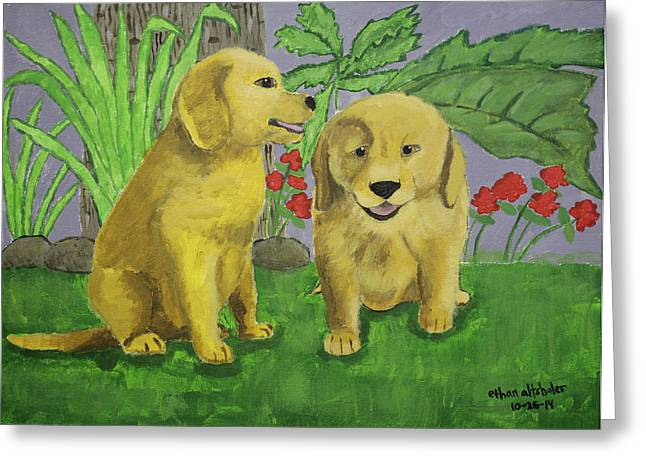 Labrador Puppies Greeting Card by Ethan Altshuler
