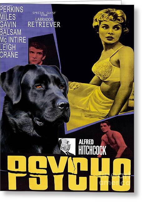 Labrador Retriever Art Canvas Print - Psycho Movie Poster Greeting Card by Sandra Sij