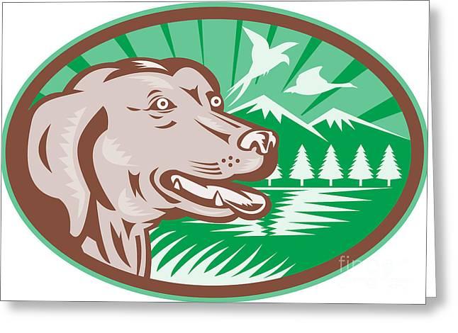 Labrador Retriever Hunting Dog Retro Greeting Card by Aloysius Patrimonio