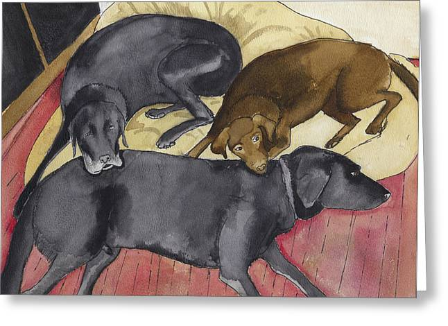 Labrador Retrievers Resting At Home Greeting Card by Ethan Altshuler