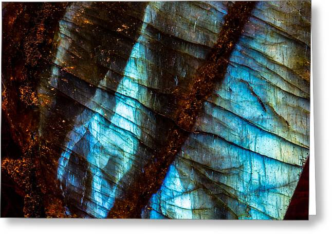 Labradorite Macro Greeting Card by Robert Storost