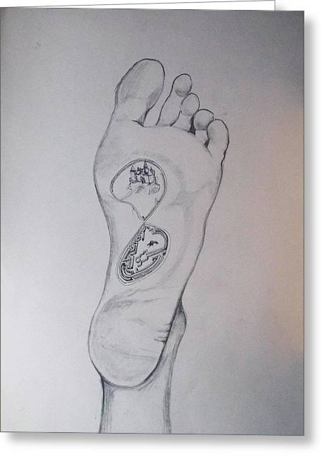 Greeting Card featuring the drawing Labyrinth Foot Pie Laberinto by Lazaro Hurtado