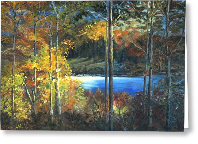 Greeting Card featuring the painting Lac Fortune Gatineau Park Quebec by LaVonne Hand