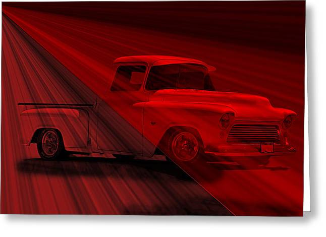 Lace Curtains 1956 Chevy Pick Up Greeting Card by Dave Koontz