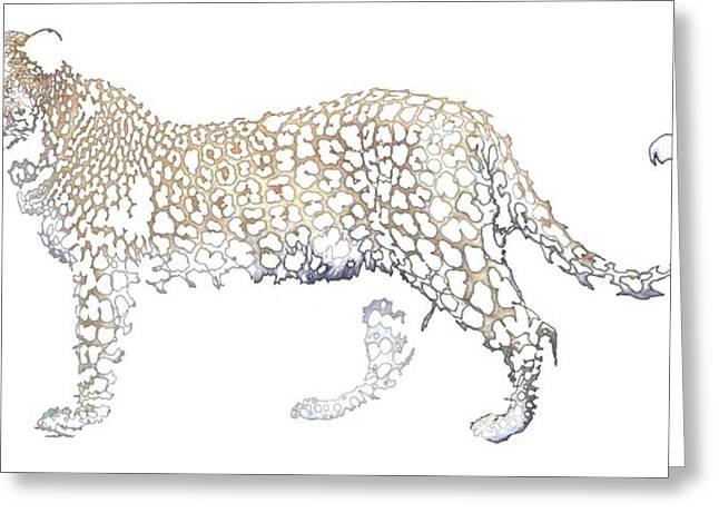 Greeting Card featuring the digital art Lace Leopard by Stephanie Grant