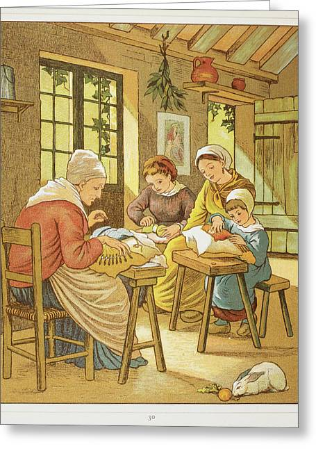 Lace Makers Of Caen Greeting Card