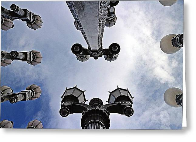 Greeting Card featuring the photograph Lacma Lights Mike-hope by Michael Hope